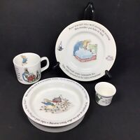 Peter Rabbit Nursery Set by Wedgwood - Plate Porringer Mug & Egg Cup - 4 Piece