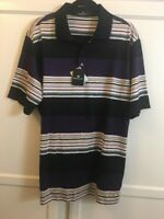 Bugatchi Uomo Men's Polo Short Sleeve Shirt Size L Black /plum Egyptian Cotton