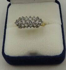 Yellow Gold Tone Large Cocktail Ring Prong Set CZ- Sz 9.25