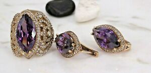 Turkish Handmade Amethyst Silver 925 Set