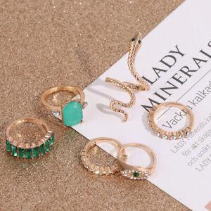 6 pcs /set Green Rhinestone Rings Vintage Crystal Snake Adjustable Metal Ring.