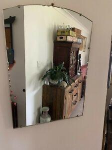 Art Deco Scalloped Edge Rectangle Mirror Hall, Mantel, Dresser Mirror
