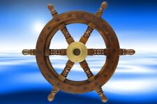 Schiffs Ruder massiv Teakholz Maritimes Geschenk Wand Deko 125 cm Steuerräder