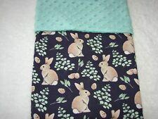 Bunnies & Leaves Cotton Front Green Minkee Bassinet/Crib Blanket Handmade