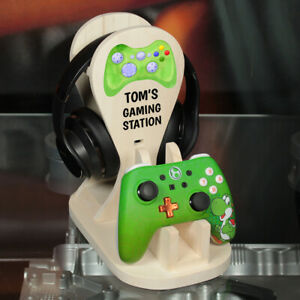 Personalised Xbox One Controller and Headphone Wooden Gaming Station