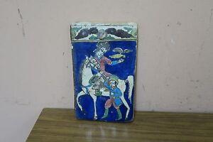 "Antique  Armenian Iznik Islamic Glazed Hunting Scene Falconer Art Tile 9"" x5.5"""