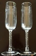 "2 ""Parent Trap"" Vintage Crystal Champagne Flutes Footed Wine Glasses Barware"