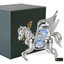 Chrome Plated Silver Pegasus Ornament with Blue Crystals by Matashi