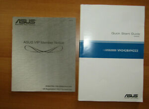 ASUS VH242 & VH222 LCD Monitor Quick Start Guide + ASUS VIP Member Notice