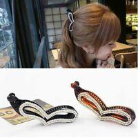 Women Gift Heart Hair Accessories Banana Clip Rhinestone Ponytail Holder Tool