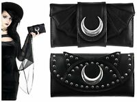 Restyle Moon Cat Bat Wing Witchcraft Crescent Moon PU Leather Wallet Coin Purse