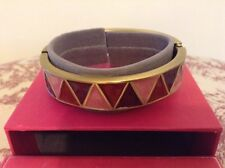 "DEBENHAMS ""BUCKINGHAM"" PINK ENAMEL HINGED BRACELET - BOXED"