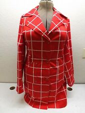 MAX MARA RED AND WHITE PLAD JACKET / TRENCH COAT LIGHT WEIGHT  SIZE XL