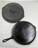 Vintage Lodge No. 12 Cast Iron Skillet w/ 3 Notch Heat Ring and Basting Lid