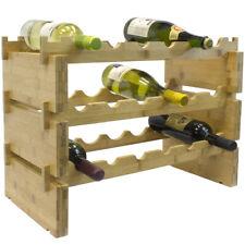 2/3/6-Tier Wood Wine Rack - Stackable Bamboo Wine Holder Racks - Upto 36 Bottles