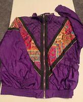 Women's Vintage Westbound Sport Windbreaker Jacket w/Shoulder Pads Size M Purple