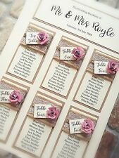 A3 vintage rose design wedding table plan with kraft and hessian