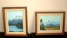 "2 Original Oil Paintings Landscapes by E.J. Thomas 5 x 7"" plus Frames"