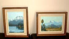 """2 Original Oil Paintings Landscapes by E.J. Thomas 5 x 7"""" plus Frames"""