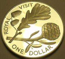 Rare Silver Proof New Zealand 1981 Dollar~38k Minted~English Oak~Royal Visit~F/S