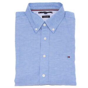 8382AA camicia uomo TOMMY HILFIGER cotton linen blue shirt man