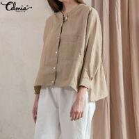 Women Long Sleeve Plus Size Loose Baggy Cotton Top T Shirt Ladies Button Blouse