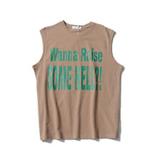 Casual Sleeveless Personality Letter Printing Tan - Coffee