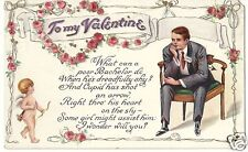 Original Vintage 1907-15 Valentine Day PC- Heart- Cupid- Arrow- Shy Bachelor