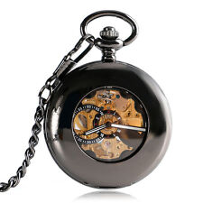 Noble Hollow Smooth Case Roman Numerals Automatic Mechanical Pocket Watch Gift