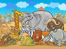 ART PRINT POSTER pittura disegno GANG cartoon animali africani lfmp1055