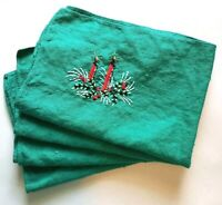 Vintage Linen Christmas Holiday Napkins 4 Set Hand Embroidered Candles Evergreen