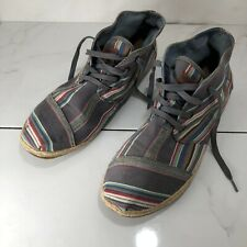 Toms Mens Size 14 Shoes High Top  Grey Striped Canvas Upper
