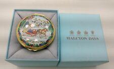 Rare Halcyon Days Enamel Christmas Trinket Box Jingle Bells With Box