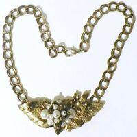 collier bijou vintage années 70 maillon fleur feuille perle couleur or * 4969