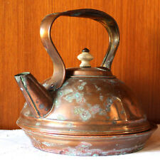 Antique Clyveden ware solid copper kettle and stand, aged with verdigris, lovely