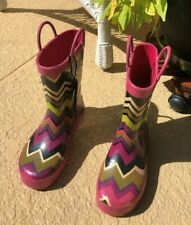 Missoni for  Target Girls Sz 4 zig zag rainboots