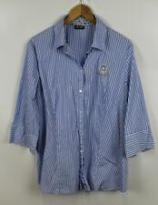 GERRY WEBER Damen Bluse, Größe 46, Hellblau-weiß gestreift, Baumwolle