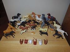 Vintage Lot of 35 Plastic Horses Figurines (Some Marx) with 6 Saddles - Used/GC