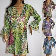 Kleid Tunika Langarm Top Indien Goa Hippie Vintage 38 40 Pfauenfeder LA-P