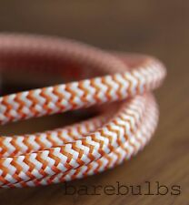 Italian coloured fabric lighting cable flex: Orange & White - sold per metre