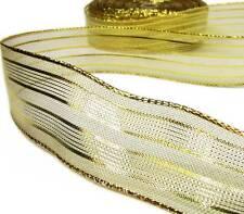 "2 Yds Christmas Double Stripe Metallic Shiny Gold Wired Ribbon 1 1/2""W"