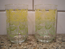 Vintage Libbey Pair of Drinking Juice Glasses Yellow and Green Summer Flowers