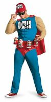 Mens Duffman Costume Muscle The Simpsons Duff Man Halloween XL Beer Holster NEW