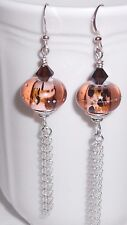 *RAWWWR* Brown Black Lampwork Crystal Sterling Silver Chain Dangle Earrings