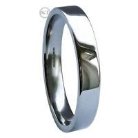 3mm 950 Platinum Wedding Rings Flat Court Heavy Band Ring 6.5g UK Hallmarked H-Q