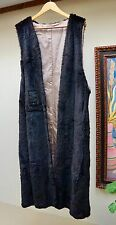 Jindo Furs Sport Black Sheared Rabbit Long Coat Lining Vest Size Medium