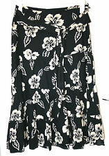 PINK SODA UK12 EU40 BLACK AND CREAM FLORAL TIERED PART-LINED COTTON SKIRT