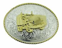 Big Rig Truck Belt Buckle Trucking Trucker Cowboy Gold Silver Texas Us Western