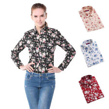 Women Floral Print Blouse Rose Flower Long Sleeve Casual Button Down Hot Shirts