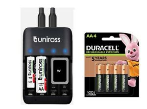 UNiROSS FAST COMPACT AA/AAA/PP3 CHARGER & 4 x AA 2500 mAh DURACELL BATTERIES